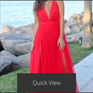 Red Tulle Maxi Dress